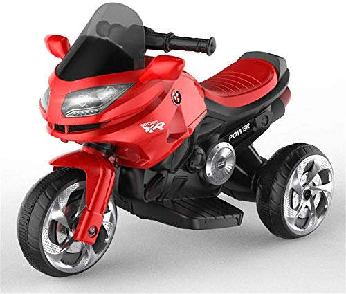 Kinderbeveiliging op de motorfiets, 3 fietsen, voor jongens en meisjes, elektrische driewieler met koplamp en muziek, accu 6 V, 3 km h.