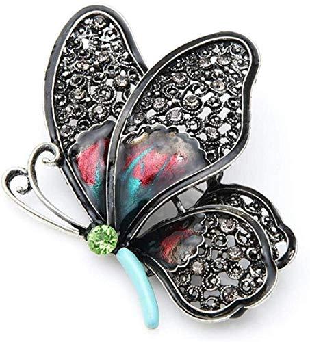 XONGZZJ Brosche Brosche Big Heavy Emaille Schmetterling Hohlflügel Frauen Vintage Silber Brosche Tasche Zubehör