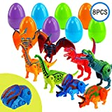 FUNNISM Dinosaur Toys, 8 Pcs Easter Prefilled Hatching Eggs with Transforming Deformable Dinosaur with Movable Joints - Easter Egg Hunt, Classroom Prize Supplies, Kids Gifts and Party Favors