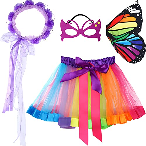 4 Pieces Kids Girls Butterfly Costume Princess Dress Up Include Rainbow Butterfly Wing Fairy Shawl, Masquerade Mask, Tutu Skirt and Flower Headband for Halloween Cosplay Role Play Party Favors