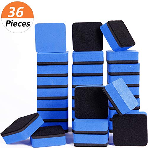 Dry Erase Erasers, 36 Pack Magnetic Whiteboard Eraser Chalkboard Eraser Dry Eraser for Classroom Office and home (Blue)