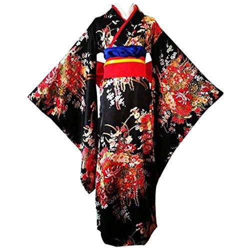 Women's Flower Printing Japanese Kimono Lolita Dress Anime Cosplay Costume (XL)
