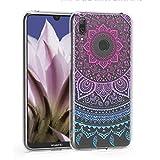 kwmobile Hülle kompatibel mit Huawei Y7 (2019) / Y7 Prime (2019) - Hülle Silikon transparent Indische Sonne Blau Pink Transparent
