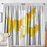 Living Room Curtains Yellow and White,Abstract Splash Watercolor on White Backdrop Dirty Stain