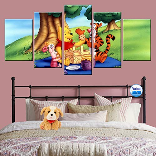 WCNM Hd Print 5 Panel Wand Art Deco Leinwand Kinderzimmer Wandbild Winnie The Pooh Piggy Jumping Cartoon Tier