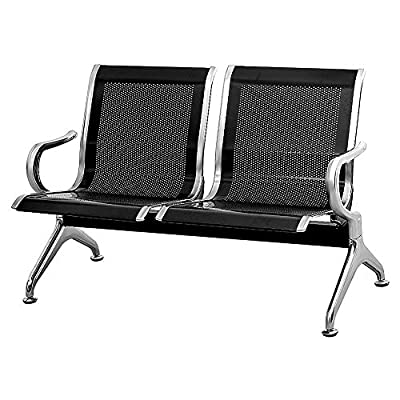 INVIE Metal Reception Chair, Office Lobby Furniture Reception Bench Seating for Airport, Bank, Hospital, School, Barbershop