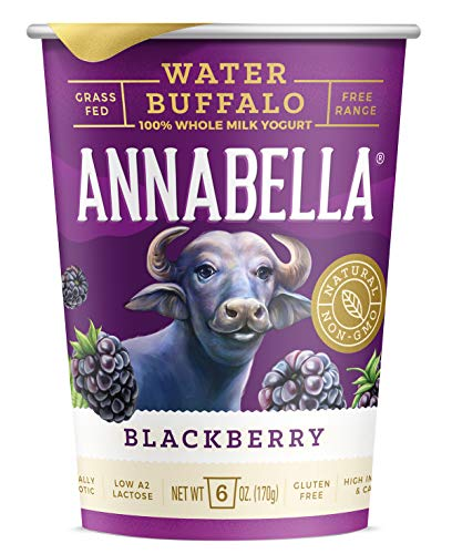 A2 Water Buffalo Yogurt (Blackberry) 6oz Cup - 12 Cups - A2/A2 Water Buffalo Milk, Non-GMO, Gluten Free, 100% Grass Fed, Higher Protein, More Calcium, Less Cholesterol and Lactose
