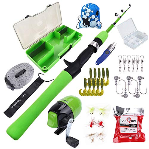 MultiOutools Kids Fishing Pole,Children Lure Fishing Kit,Fishing Rod and Reel Combo Set for Children Fishing Youth Fishing Gear Set, Freshwater and Saltwater