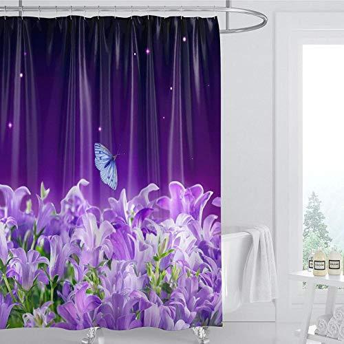 DLSM Cortina de Ducha de baño Perforada antimoho Saludable con patrón Simple de Moda de Mariposa de Flor púrpura-El 180x180cm