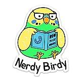 Stickeroonie Nerdy Birdy Bibliophile Funny Sticker - 4' x 3.14' Vinyl Stickers - Perfect Car Stickers, Laptop Stickers, Water Bottle Stickers, Skateboard Stickers