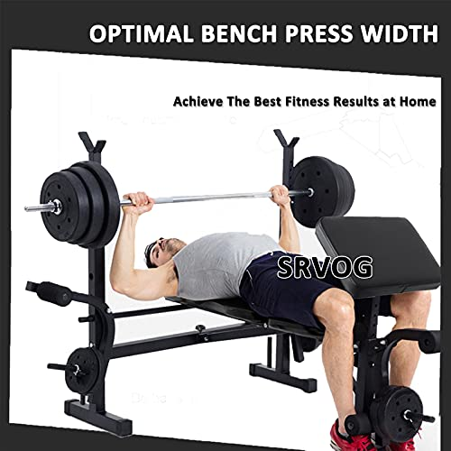 Adjustable Olympic Weight Bench Power Tower Workout Multi-Functional Weight Lift Bench Rack Set for Indoor Gym Home Fitness Exercise (Black)