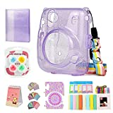 QUEEN3C Instant Mini 11 Protective Case Accessory Bundles, with Album, Filters & Other Accessories Designed for Fujifilm Instax Mini 11 Instant Camera. (Clear Case Bundles, Purple Clear Glitter Kit)