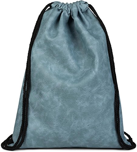 styleBREAKER Turnbeutel aus Kunstleder, Rucksack, Sportbeutel, Beutel, Unisex 02012189, Farbe::Blau