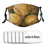 DECISAIYA Vintage Baseball Backgorund American Sports Theme Nostalgic Leather Retro Balls Artwork Unisex Washable Mouth Sleeve with Filter Anti-Dust Reusable Mouth Guard-Include 6 Filters