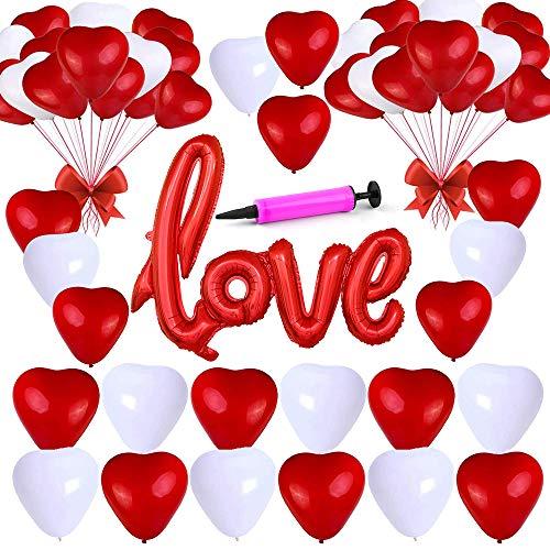 Keleily 100 Piezas Globos de Corazón Rojo y Blanco con Globo de Amor Grande y Bomba para el Día de San Valentín, Boda, Aniversario, Propuestas (12 Pulgadas, 40 Pulgadas)