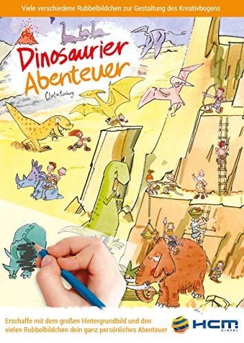 HCM Kinzel 47116 Malbuch Dinosaurier Abenteuer Rubbelbildchen, Mehrfarbig