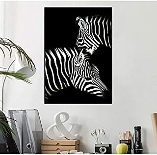 KFEKDT Animals Painting Zebra Lion Elephant Rhinoceros Pictures Black and White Canvas Posters Wall Art for Living Bedroom B 40x60CM