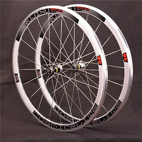 ZCXBHD 700C Rennrad Laufradsatz Retro Silber Rennen Rand 40mm Schnellspanne 8 9 10 11 Fach Kassette V Bremse 20 Löcher (Color : Reflective)