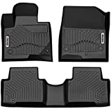 oEdRo Custom Fit Floor Mats for 2013-2018 Hyundai Santa Fe, Black TPE All Weather Front & 2nd Seat Floor Liners (5-Passenger Model)