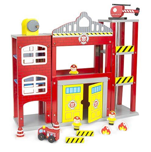 Leomark Großstadt-Feuerwache aus Holz - mit Helikopter - Feuerwehr-Station mit Einsatzfahrzeug, Feuerwehrauto Scania, Feuerwehrmann Figuren, Feuerwehrstation mit Zubehör für Kinder