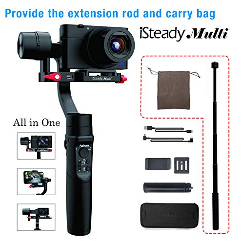 Hohem iSteady Multi 3-Axis 3-in-one Handheld Gimbal Stabilizer for Sony RX100 Series, Canon G, Panosonic DMC-LX10 Digital Camera, ActionCam GoPro Hero,Phone,Tripod&Carry Case&Extension Rod Included