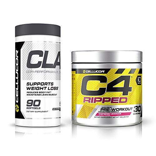 Cellucor C4 Ripped Pre Workout Powder Energy Drink + Fat Burners for Men & Women, Raspberry Lemonade, 30 Servings + Cellucor CLA Weight Loss Supplement, 90 Softgels