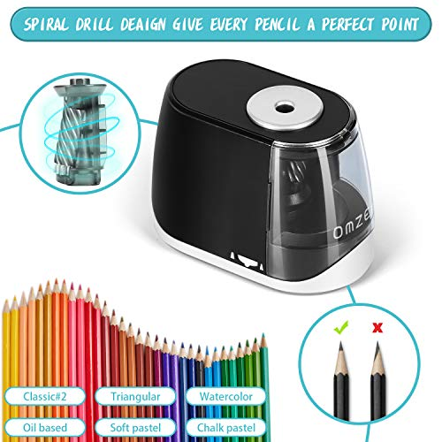 OMZER Electric Pencil Sharpener Heavy Duty - Quick Sharpening and Auto-Stop Operated Safe Design For Kids Adults - Pencil Sharpeners for Colored Pencils with Battery USB Powered for Home Class Office Photo #7