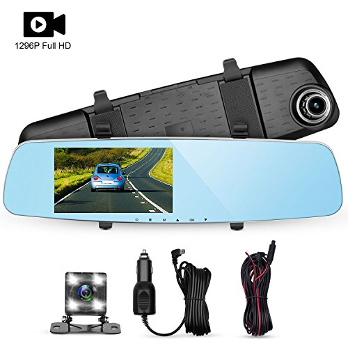 Panlelo D7 Dash Cam Car Driving Recorder 5.0' Car DVR Video Recorder 1296P 6 Layer Glass Dash Camera Built-in WDR Loop Recording G-Sensor with 4 LED Backup Camera Car Charger