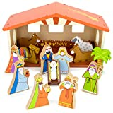 Classic Nativity Set (14pcs) – O Holy Night Wooden First Christmas Story Playset & Decoration - Christmas Holiday Manger Nativity Scene Playset for Indoor Home Display, Tables, & Mantle Decor