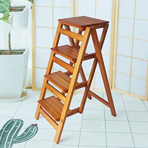 Folding Ladder Staircase Multi-Functional Folding Solid Wood Ladder Stool,Step Stool Household Muliti-Color Stool Step Ladder Foldable Stepladder,Brown,Four