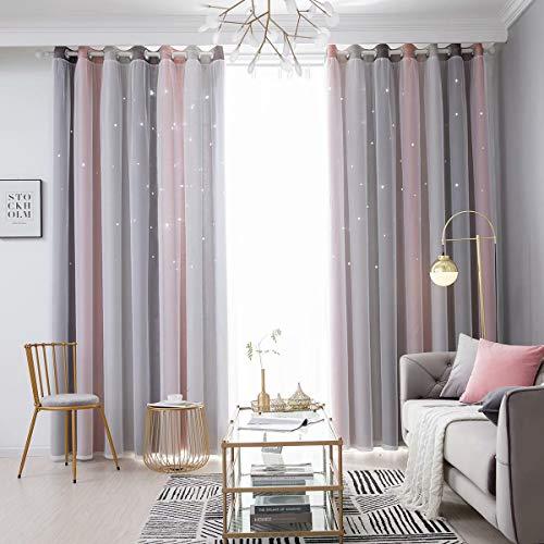 YEENUEER Vorhang Blickdicht Vorhang Kinderzimmer Junge Mädchen mit Sternen 100% Polyester Bunte Doppelschicht Fenstervorhänge für Schlafzimmer Wohnzimmer,Grau Rosa 2 Stücke