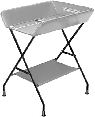 SUBBYE Folding Baby PU Leather Diaper Table Care Station, Newborn Baby Changing Table Unit Bathing Touch Table, Gray
