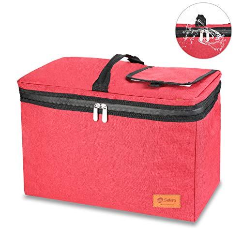 Sekey 24L Kühltasche, Thermotasche, isolierte Picknicktasche mit wasserdichtem Reißverschluss für Picknick/Camping/Sportveranstaltungen, passend für alle Faltwagen, rot