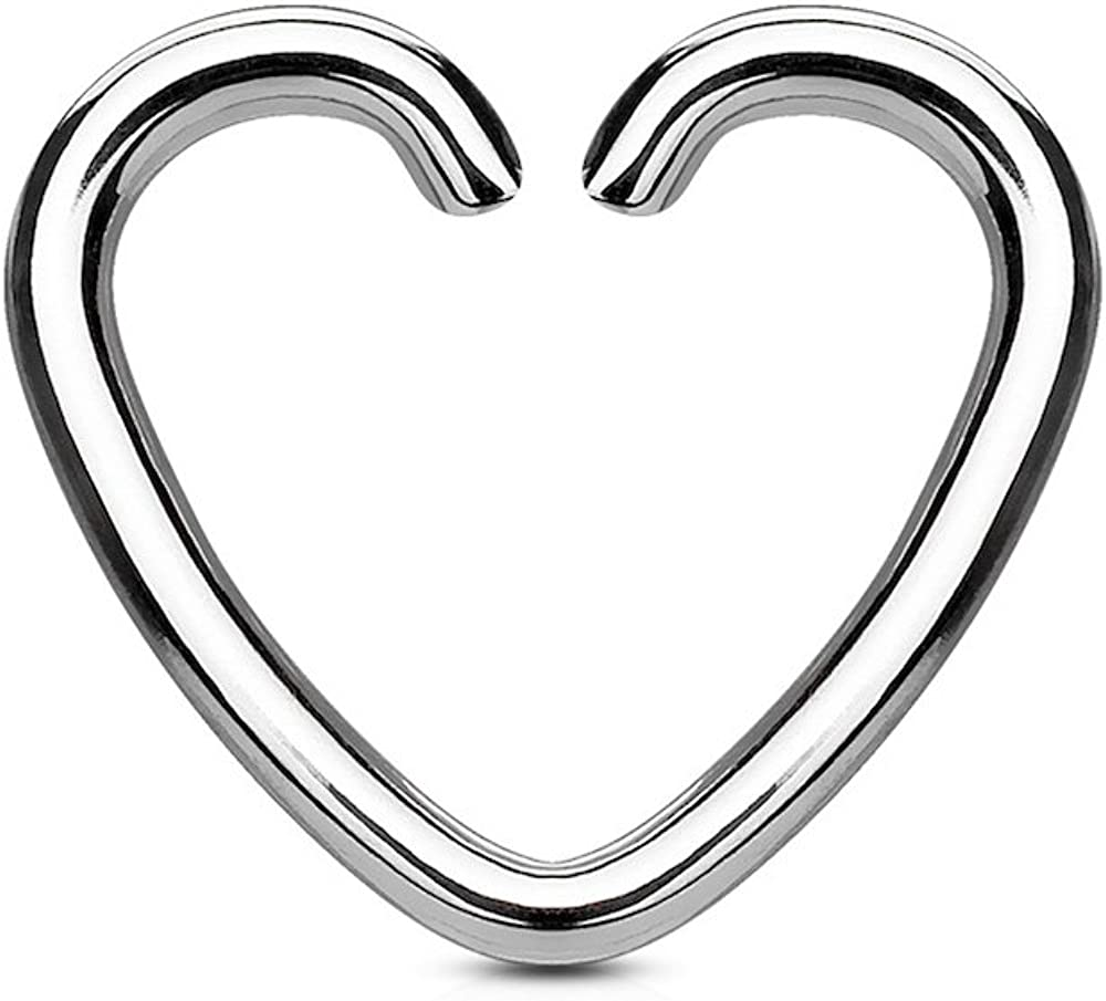Covet Jewelry Heart Cut Ring IP Plated 316L Surgical Steel for Cartilage/Tragus/Daith and More
