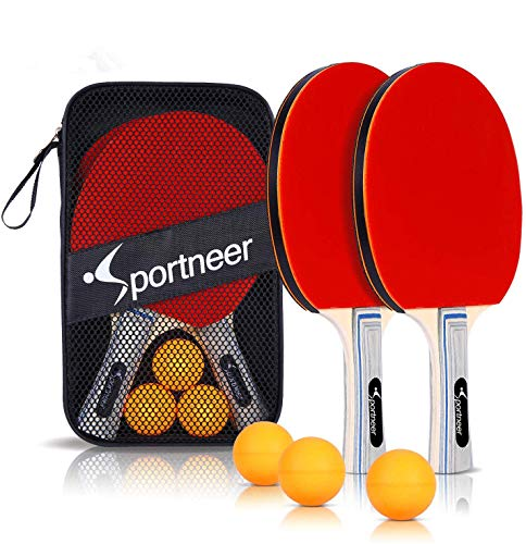 Sportneer Ping Pong - Juego de 2 Raquetas Premium y 3 Pelotas de Tenis de Mesa - Goma de Esponja Suave