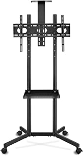 TV Stand Indoor Floor Display Stand Rotatable Telescopic HDTV Stand Conference Room VESA Up to 600 * 400mm (Color : Black,...