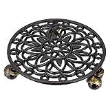 Fransande 1# Vaso per piante in ghisa con ruote resistenti, rotondo per vaso di fiori e carrelli, sottobicchiere, sottovaso in movimento (ruote nero-antiche)
