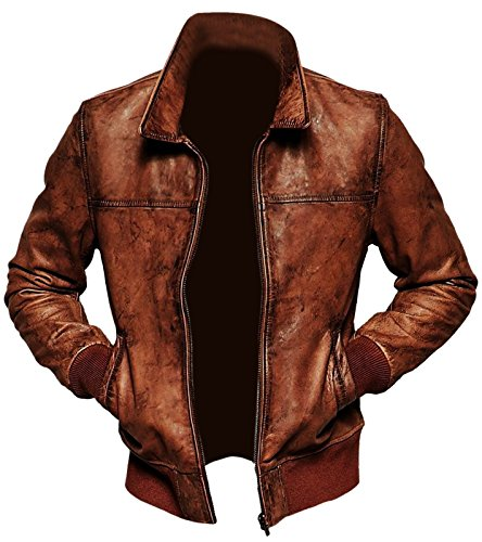 Leatherly Mens Biker Vintage Distressed Brown Bomber Winter Leather Jacket-XL