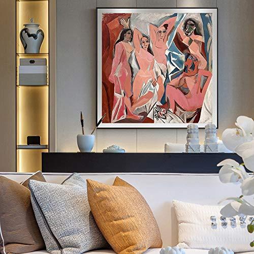 Picasso Les Demoiselles D'Avignone dipinti di quadri Stampa Riproduzioni di pittura famosa Riproduzione di tela Art Stampe, per Soggiorno Decor Senza cornice (Size : (19.7x19.7in)50X50cm unframed)