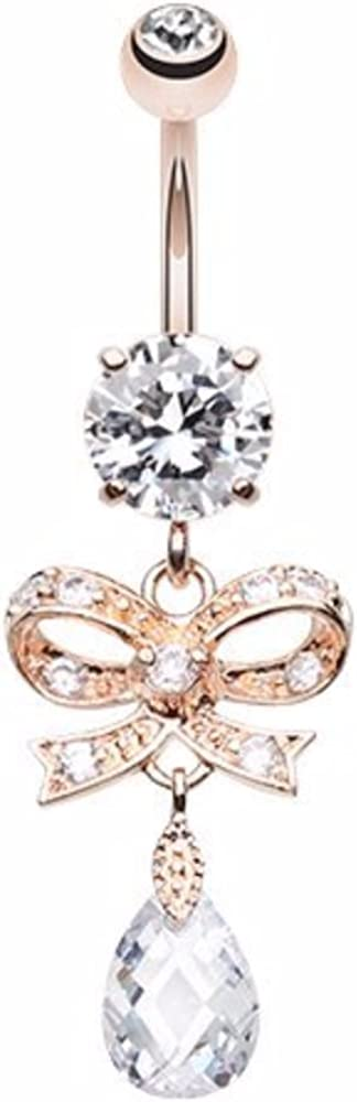 WildKlass Jewelry Rose Gold Romantic Gem Bow-Tie 316L Surgical Steel Belly Button Ring