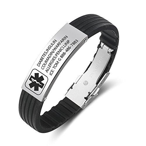 Ashleymade Pulsera de Alerta Médica Personalizada Grabado Hombres Pulseras Identificación de Silicona Mensaje Ajustable Pulsera de Emergencia para Esposo Hijo Amigo Abuelo Papá (ID Grabado Negro)