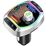 Bluetooth 5.0 FM Transmitter for Car, QC3.0+Type-C PD Fast Charge Wireless Car Radio Adapter, Hands-Free Call Kit, Battery Voltage Monitor, LED Backlit, Siri Google Assistant, Support U Disk/TF Card