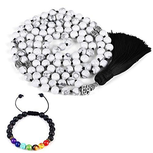 Cat Eye Jewels 8mm Mala Beads Yoga Meditation 108 White Howlite Long Beaded Prayer Necklace