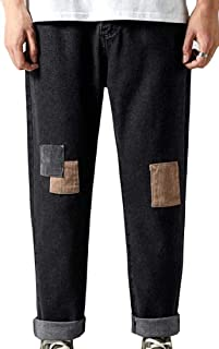Macondoo Mens Denim Straight Wide Leg Trousers Ankle Faded Stitching Baggy Jeans Pants