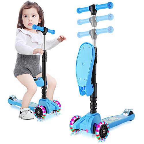OUTCAMER Monopattino per Bambini Pieghevole e Manubrio Regolabile in Altezza 3 Ruote Luminose a LED Scooter Adatte per Bambini da 2 a 8 Anni, Carico Massimo 50 kg.