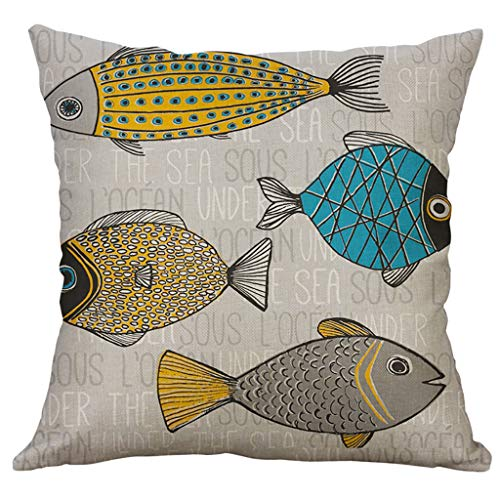 Fasclot 100% New 2019 Marine Life 60x60cm Linen Pillow Pillowcase Home Decorative Home & Garden Pillow Case