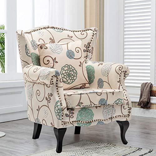 WarmiehHomy - Sillón de tela para salón o dormitorio, diseño floral, color blanco y azul