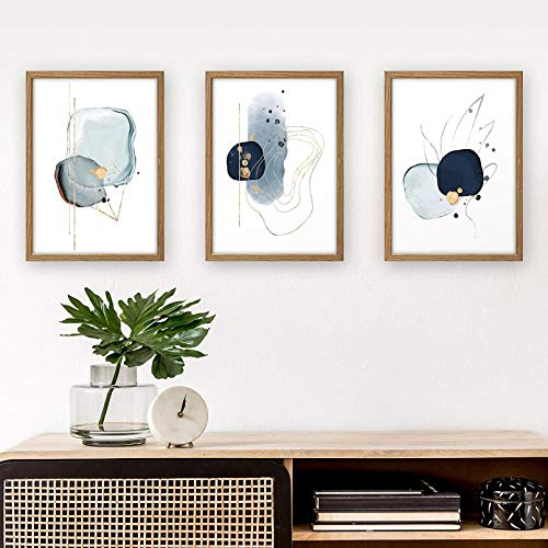 3-Piece Premium Poster Set | Art Printing | Abstract Blue | Wall Decoration Pictures | Modern Art in Living Room and Bedroom