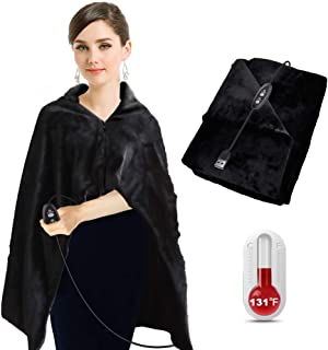 BIAL Heated Shawl, Extra Soft Warm Heated Throw Blanket with Pillowcase, Flannel Blanket - with 3-Setting Heat Controller Cord - 46