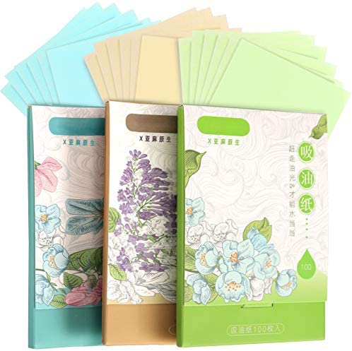 300 Sheets Oil Absorbing Tissues HNYYZL 3 Pack Premium Oil Blotting Paper Sheets Translucent product image